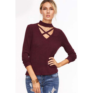 Red Crisscross Choker Sweater Street Style Pullover for Women