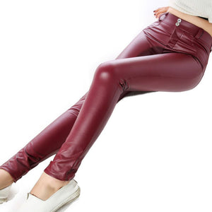 Red Faux Leather Pants Bum Lifting Leggings with Booty Shaping Butt