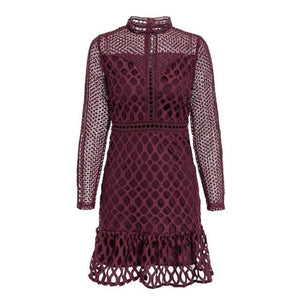 Burgundy Hollow Out Mini Dress Classy