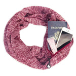 Red Infinity Scarf Women Travel Scarf with a Pocket Scarf Loop