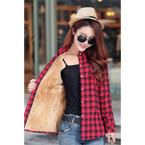 Red Insulated Flannel Women's Fur Insulated Flannel Jacket