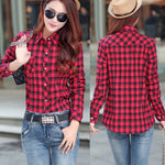 Red Insulated Flannel Women Jacket with Buttons and Turndown Collar