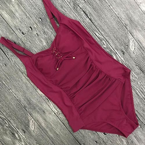 Red Modest Plus size one-piece Swimsuit