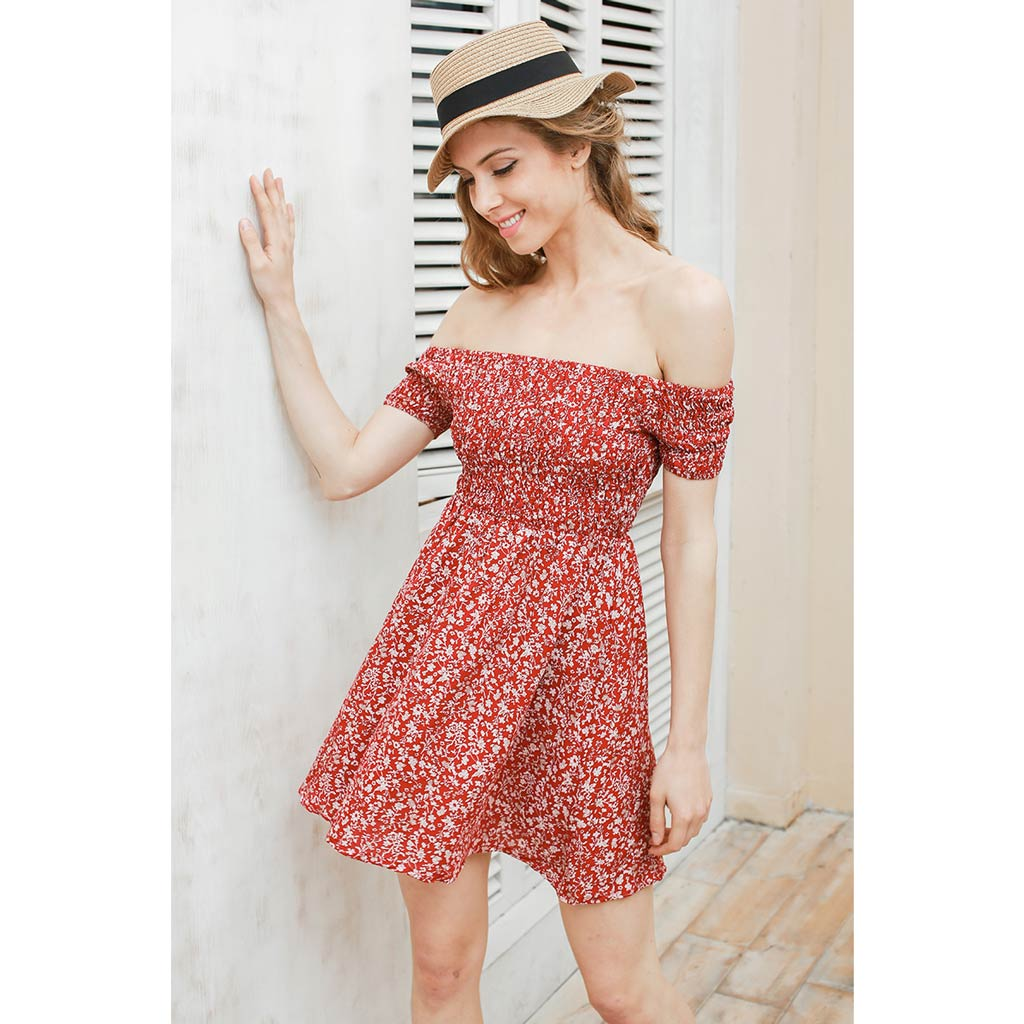 Red Off Shoulder Mini Dress Floral Pattern Dress Street Style Fashion