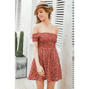 Red Off the Shoulder Mini Dress Floral Pattern Sundress Empire Waistline Modest Summer Dress Plus Size Street Style Fashion
