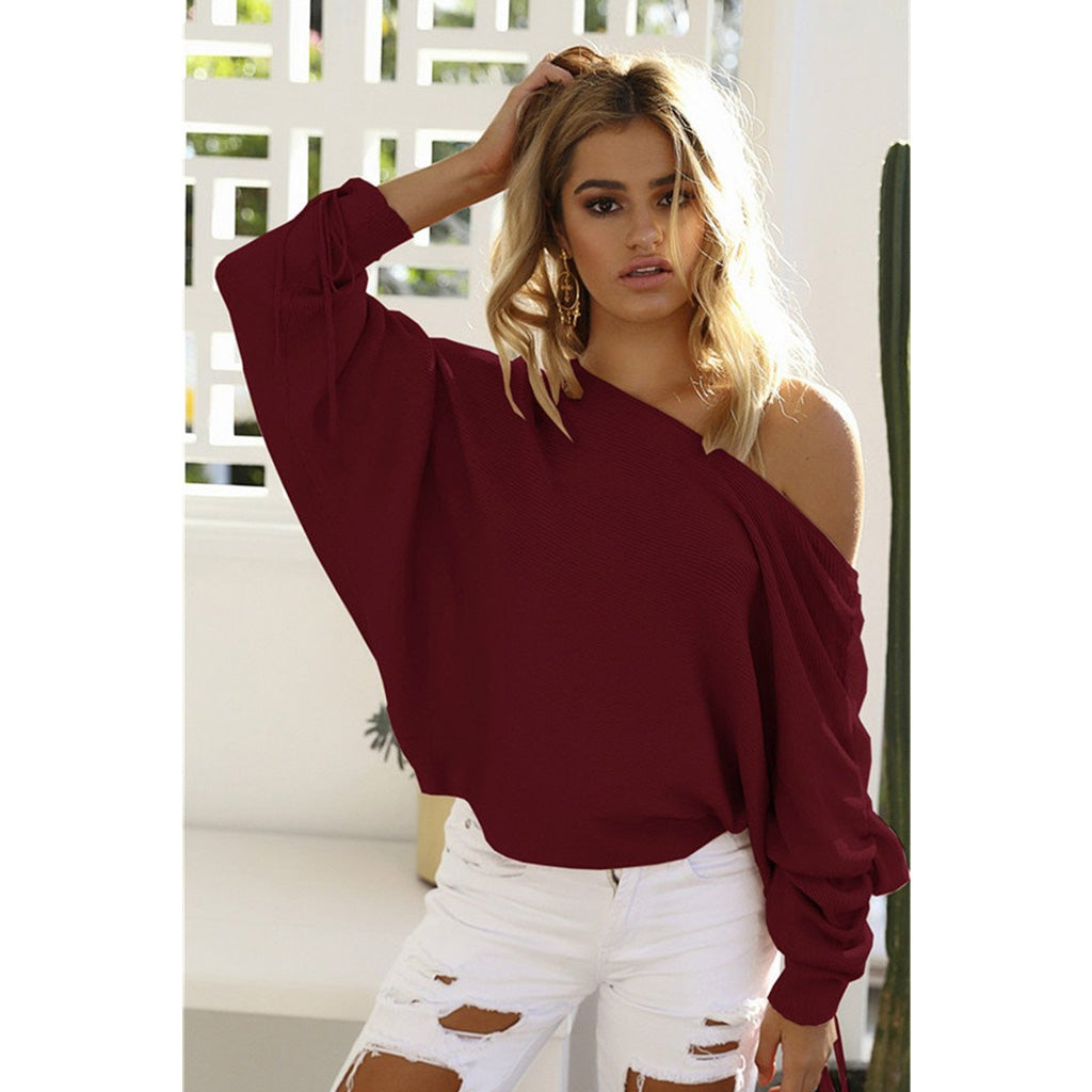 Red Lace Up Sleeve Off the Shoulder Pullover Long Sleeve Sweater for Women Online Shopping