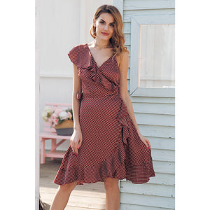Red One Shoulder Dress Ruffle Dress Street Style Fashion Polka Dot Midi Dress