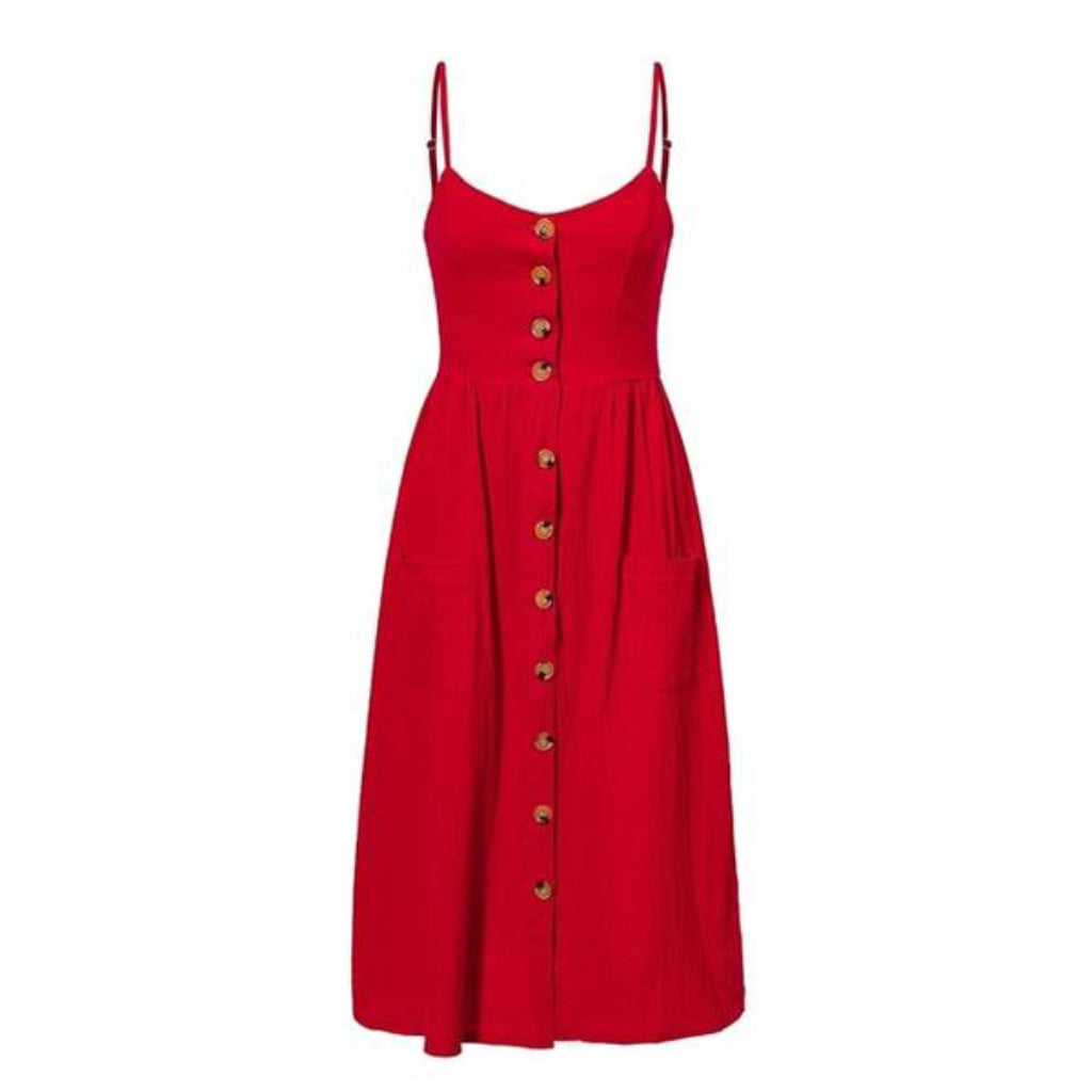 Casual Red Pocket Dress