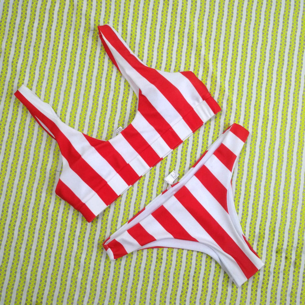 Red Stripe Cheeky Bottom Bralette Bikini Sport Swimsuit