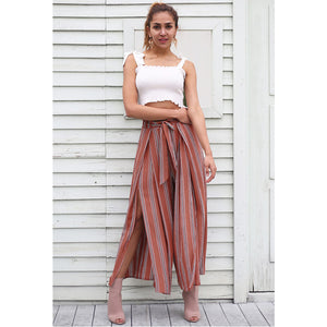 Red Split Pants Women's Street Style Outfit