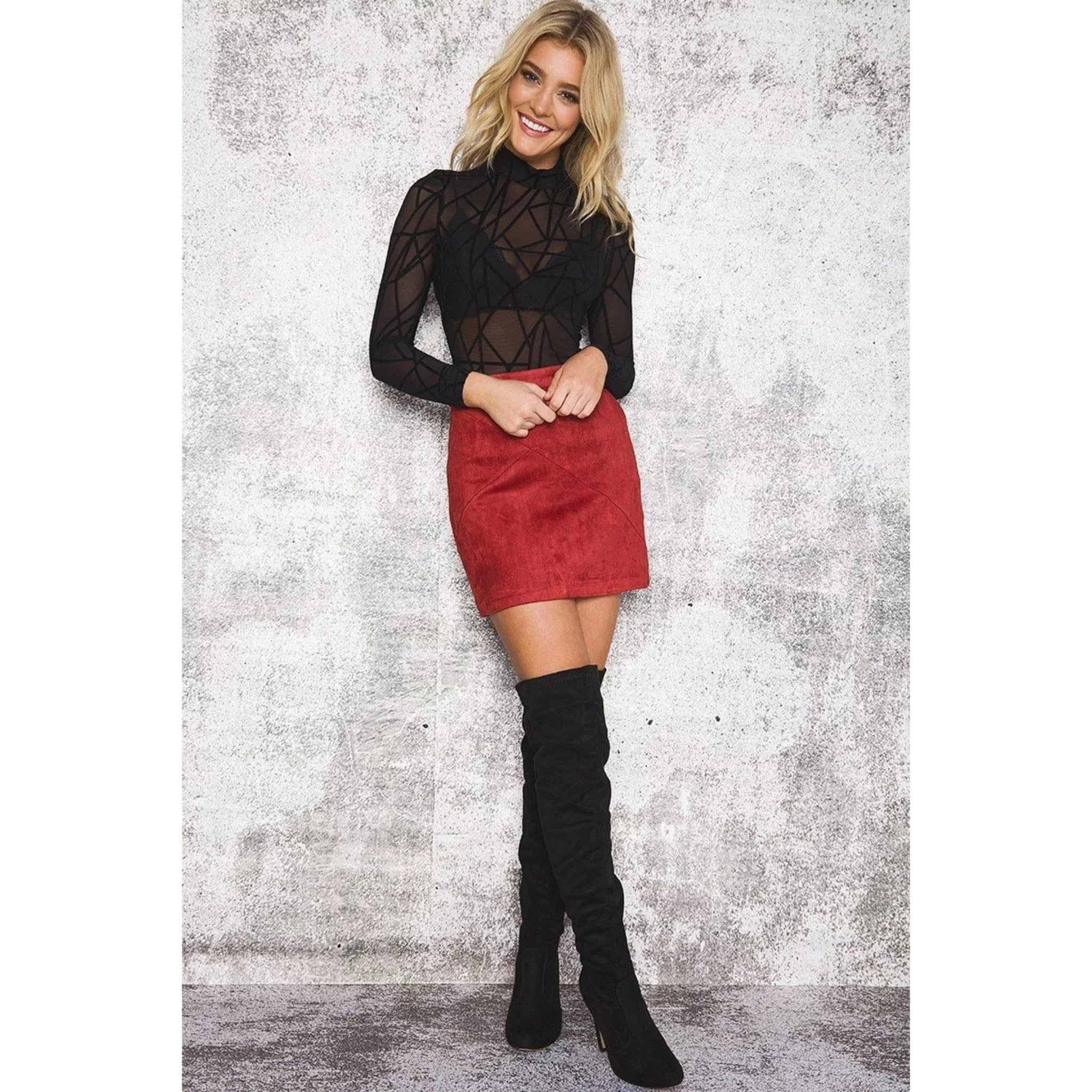 Red Suede Leather Mini Pencil Skirt High Waist