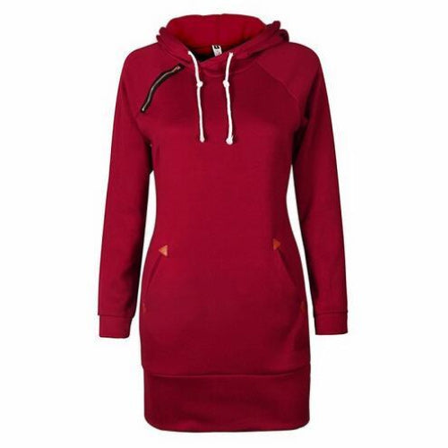 Red Sweater Dress Pockets and Hood