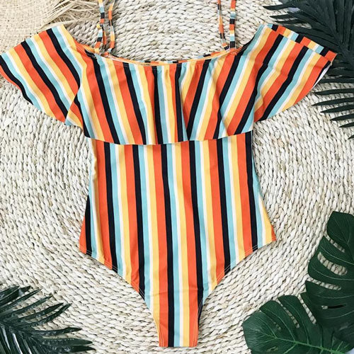 Women Swimsuit One-piece Ruffle Off the Shoulder