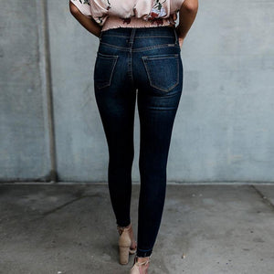 Ripped Blue Jeans Women with Regular Waist