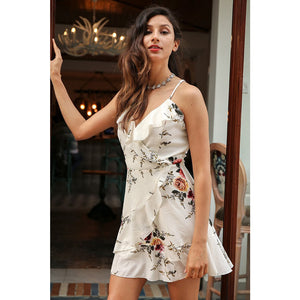 Ruffle Cute Back Dress Sleeveless Mini Cocktail Party Dress With Floral and Ruffles Party Dress Classy Vintage Dress Style