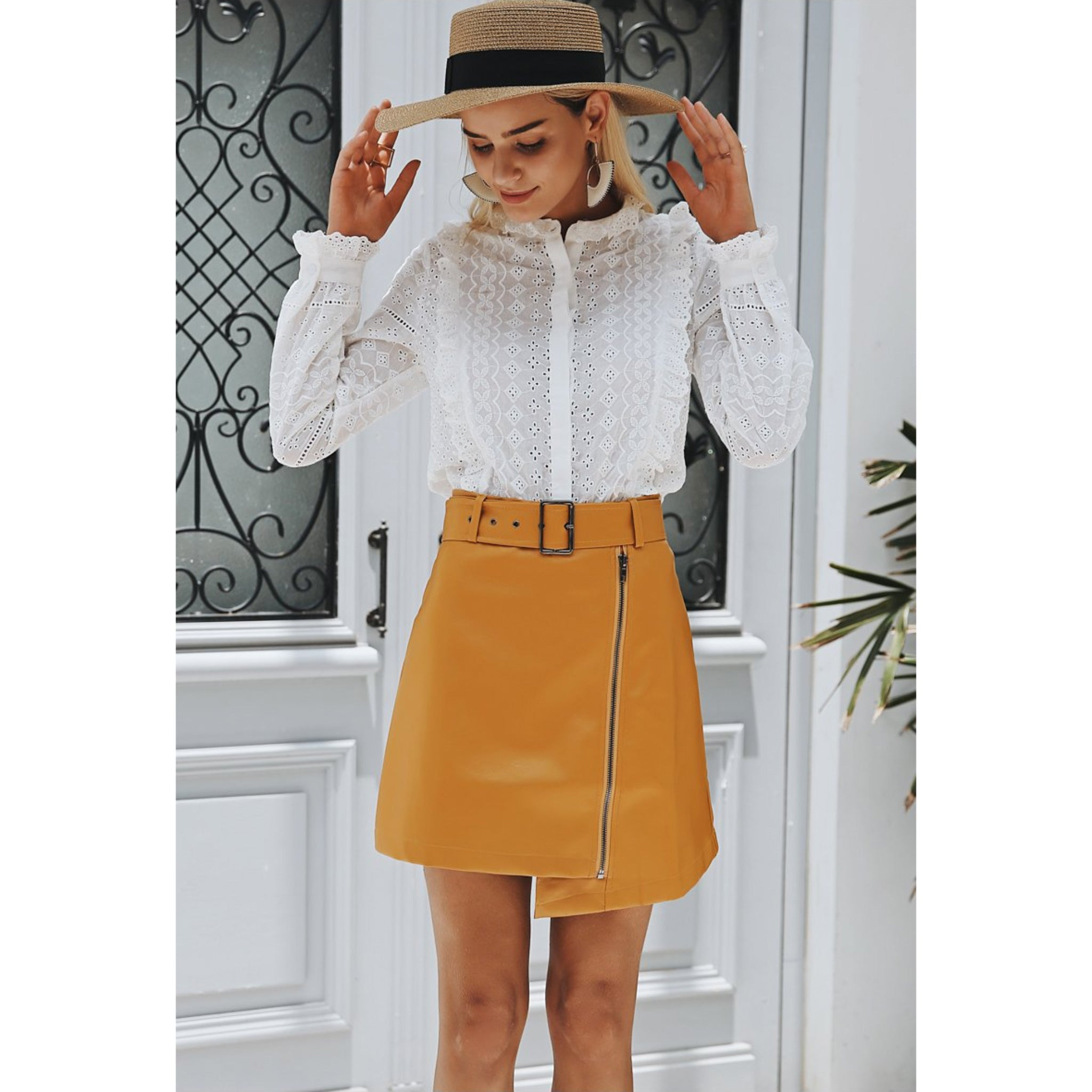 Ruffle Long Sleeve White Pleated Blouse Button Up Lantern Sleeve Shirt for Women
