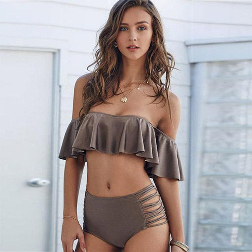 Brown Ruffle Off the Shoulder High waist Bikini