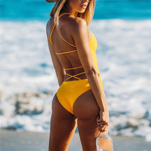 Backless One-piece Swimsuit Yellow Strappy Swimsuit