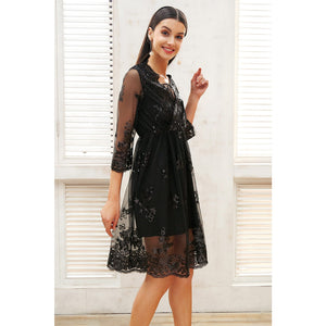 Sequin Dress Midi Sleeve Black Mesh Overlay Sequin Dress Street Style Fashion Dress