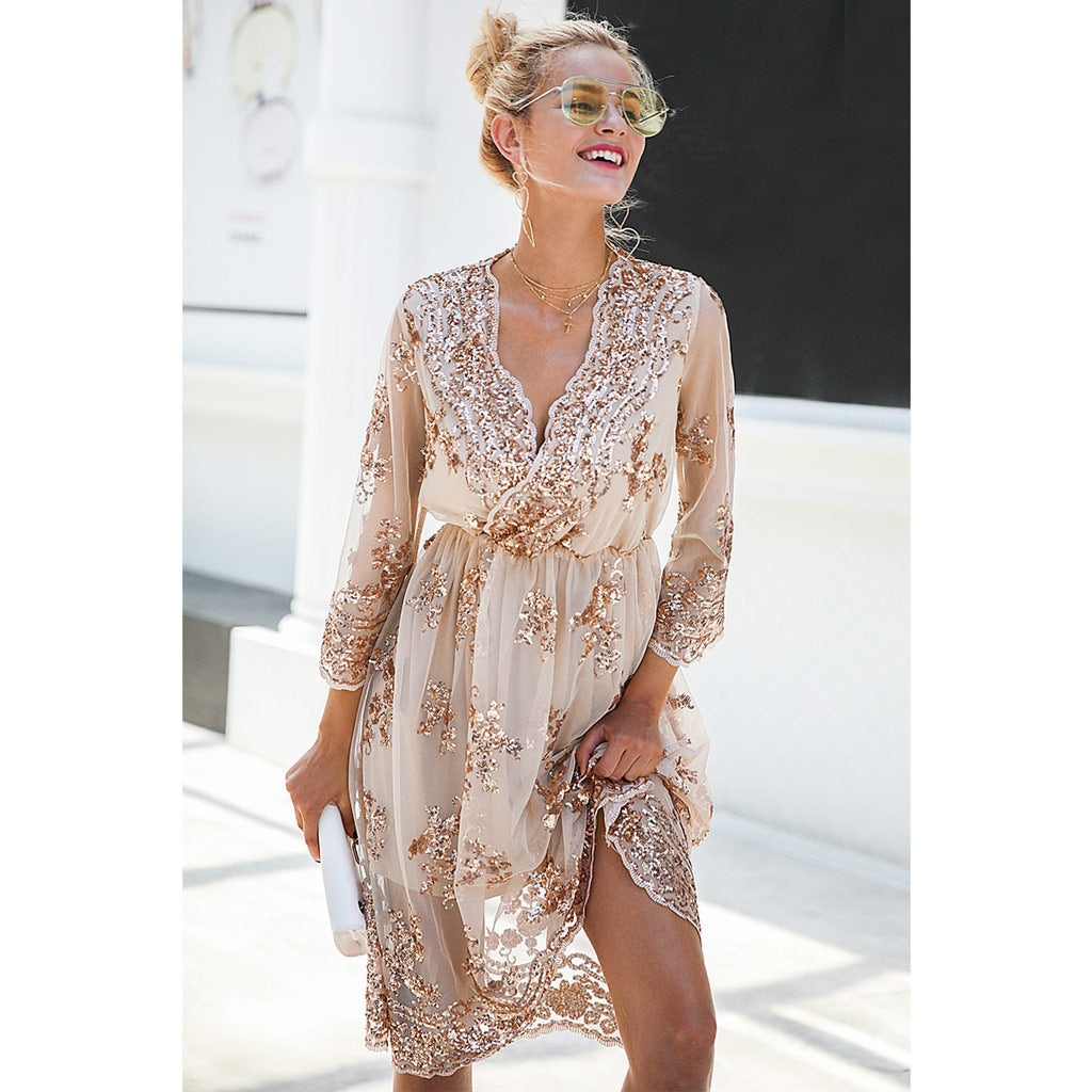 Sequin Midi Dress Classy Street Style Fashion Dress Outfit Ideas Summer