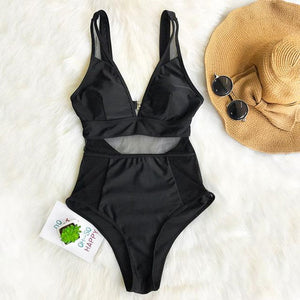 Sexy Black Mesh Cutout One-piece swimsuit