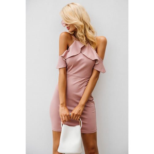 Pink Sexy Club Dress Cold Shoulder with Ruffles