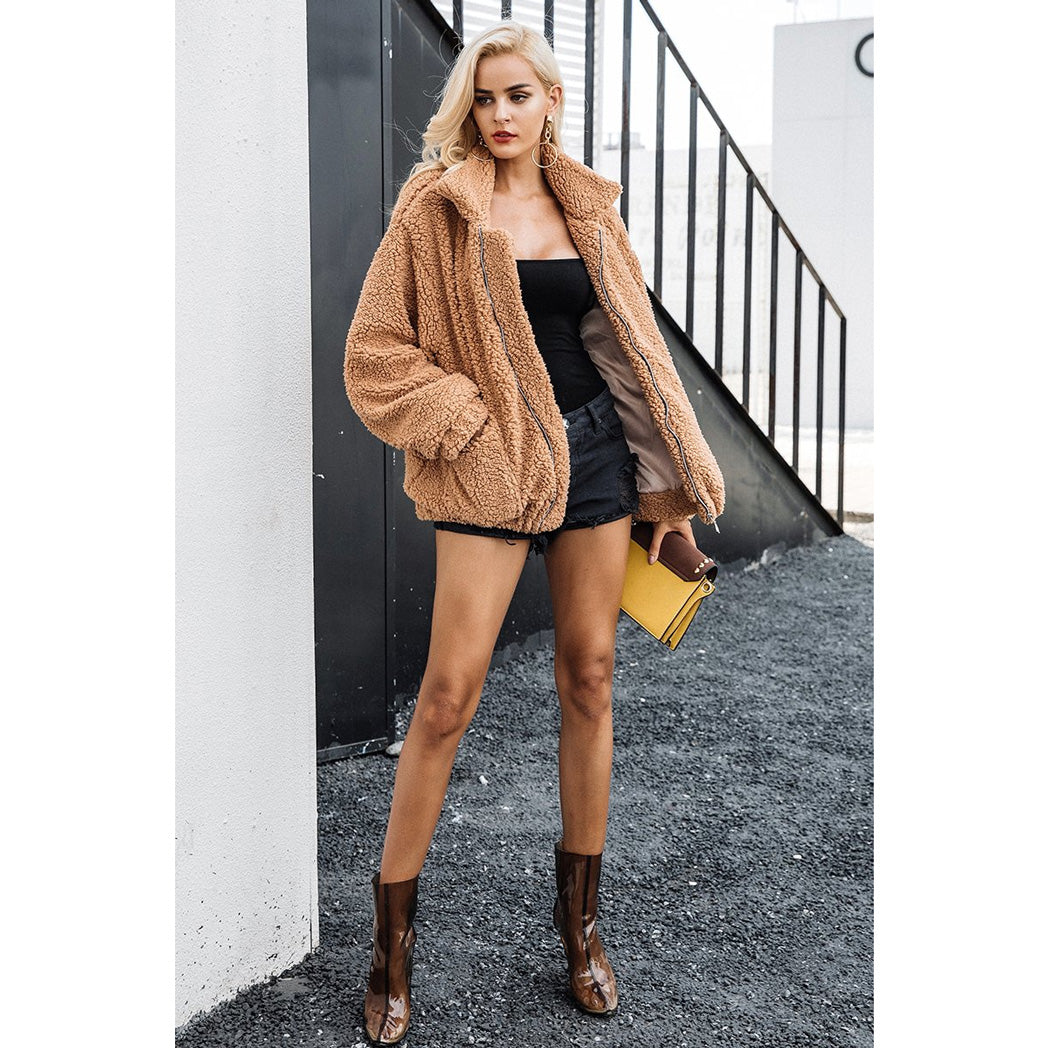 Sherpa Fur Bomber Jacket Faux Fur Women's Jacket