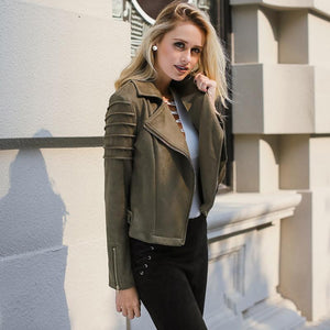 Short Casual Coat Suede Jacket for Women With Ribbed Shoulder Stylish Fall Jacket