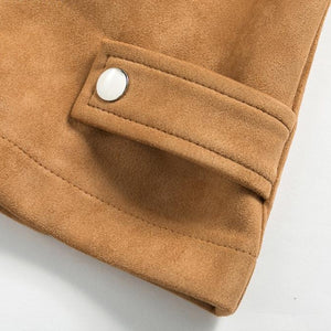 Short Coat Casual Suede Jacket with Ribbed Shoulders and Clasp Detailing