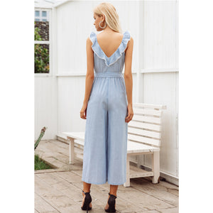 Backless Sleeveless Jumpsuit Blue
