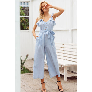 Blue Sleeveless Jumpsuit Wide LEg
