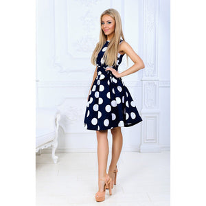 Sleeveless Fit and Flare Dress Polka dots with a sash