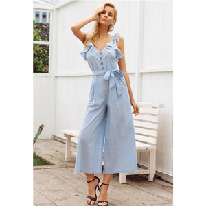 Wide Leg Jumpsuit Sleeveless Sash