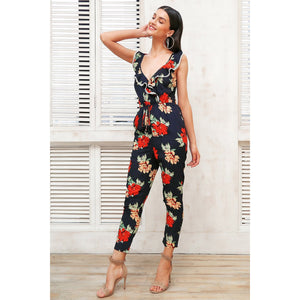 Sleeveless Jumpsuit Women With Floral Pattern and Ruffle V-neck