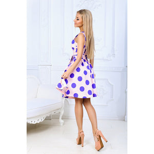 Sleeveless Pink Dress Fit and Flare with Sash and Purple Polka Dots