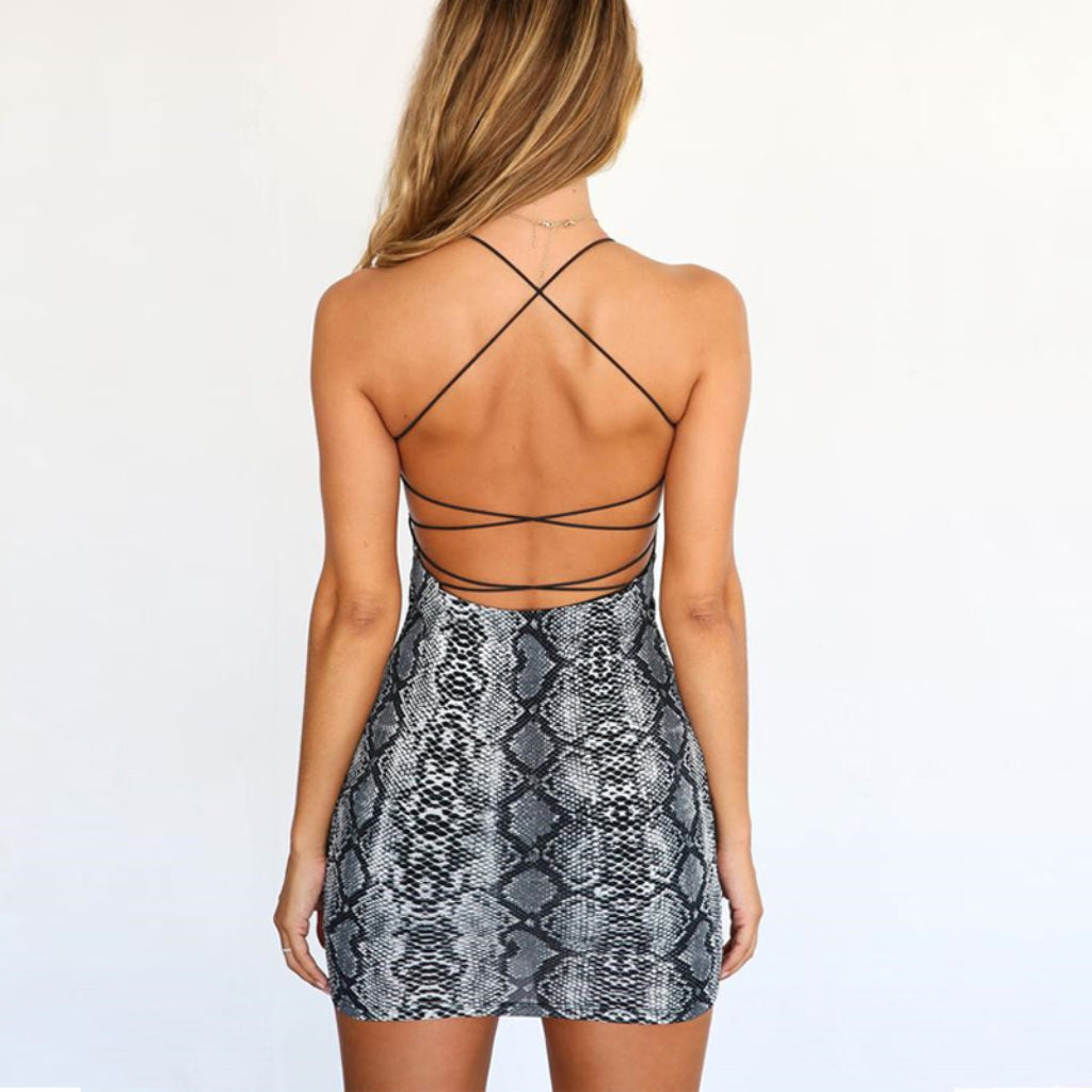Backless Mini Dress Snake Print Club Outfit