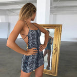 Snake Print Dress Backless Mini Dress