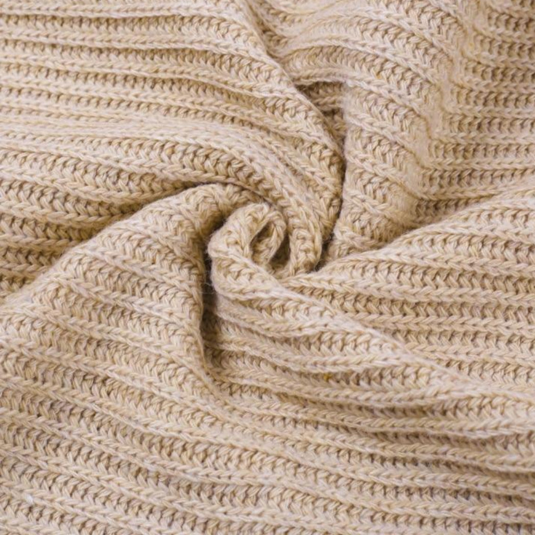 Soft Knitted Sweater camel colored polyester and acrylic