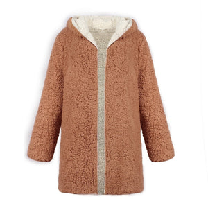 Camel Reversible Fluffy Jacket Long with Hood