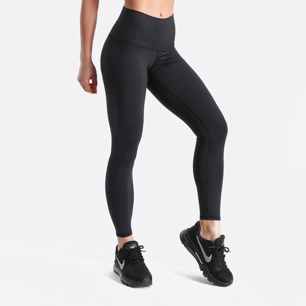 Solid Black High Waist Leggings for Work
