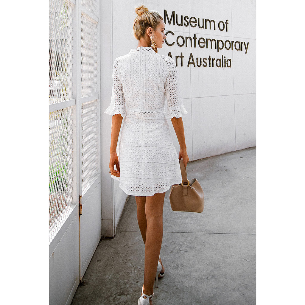 Sophisticated White Dress Half Sleeve Mini Dress Bell End Hollow Out White Short Dress