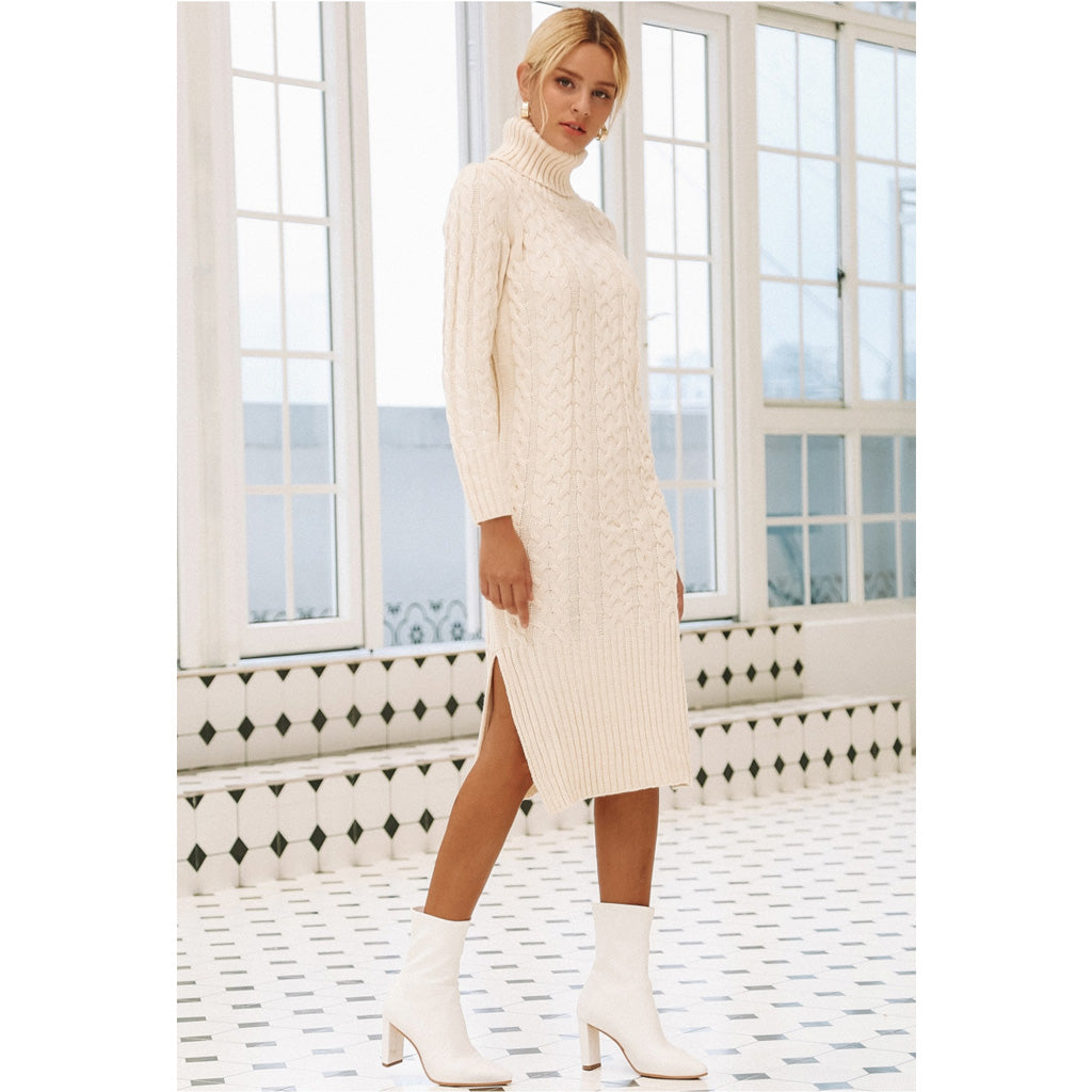 Long Sleeve Turtleneck Dress Warm Winter Dress