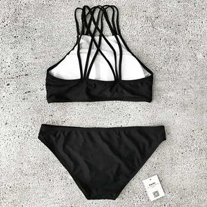 Black and White Strappy High Neck Bikini Set For Teens