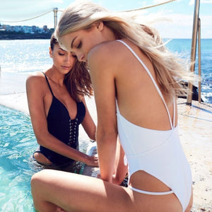 Backless White One-piece Swimsuit Lace Hips Lace Up front Bathing Suit