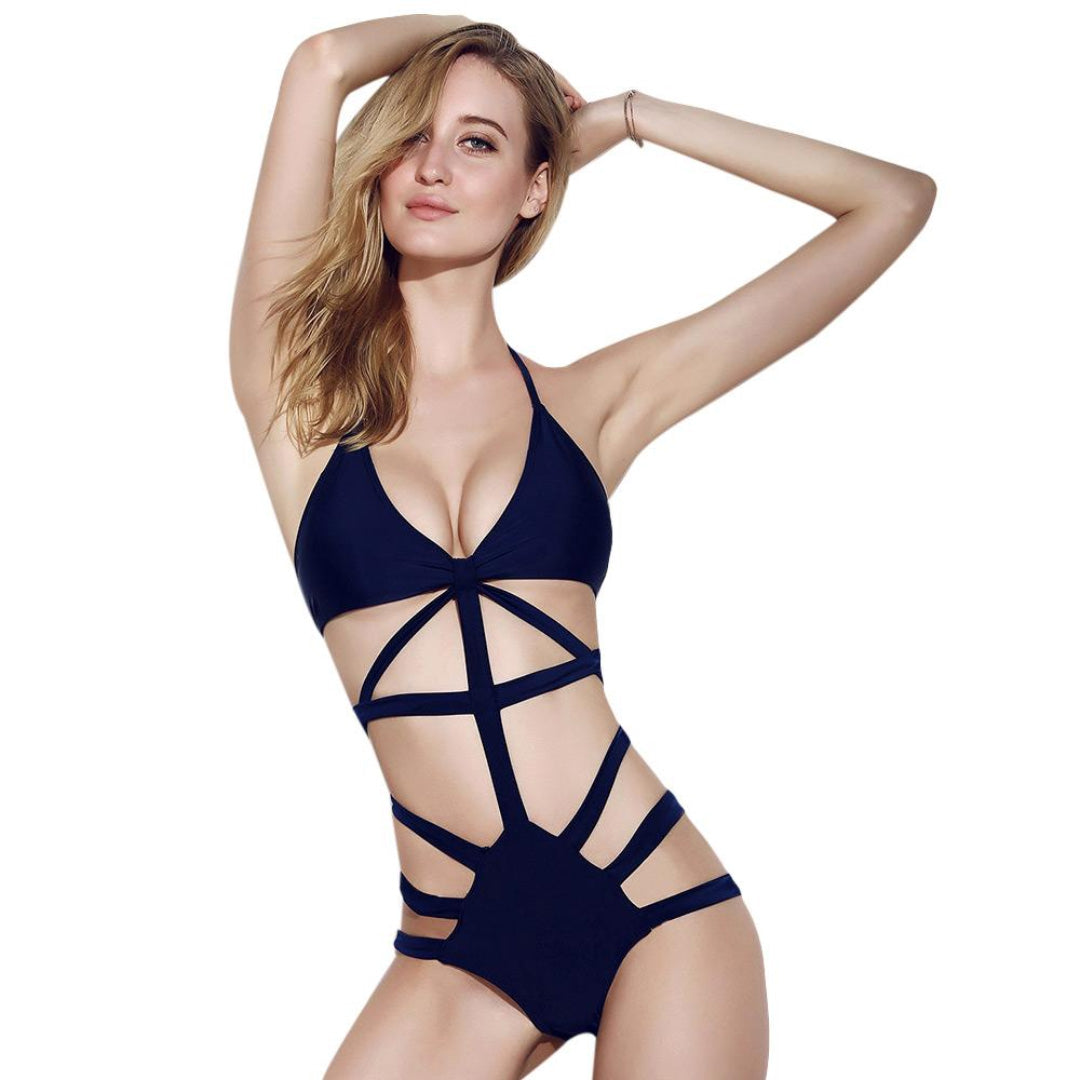 Classy Blue strappy sexy one-piece swimsuit Cutout