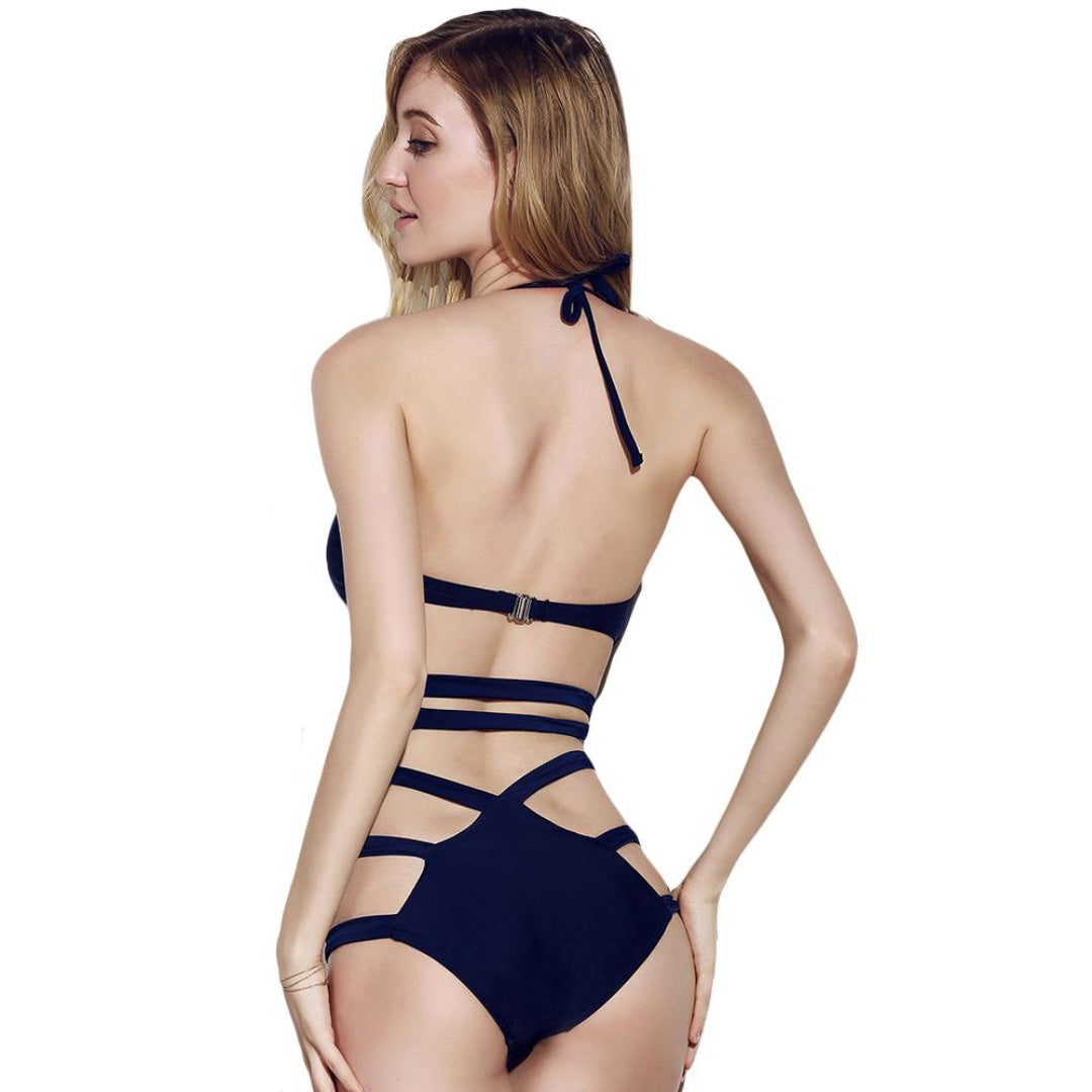 Blue Women's strappy back one-piece swimsuit sexy