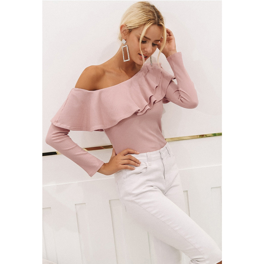 Pink Ruffle One Shoulder Blouse Long Sleeve
