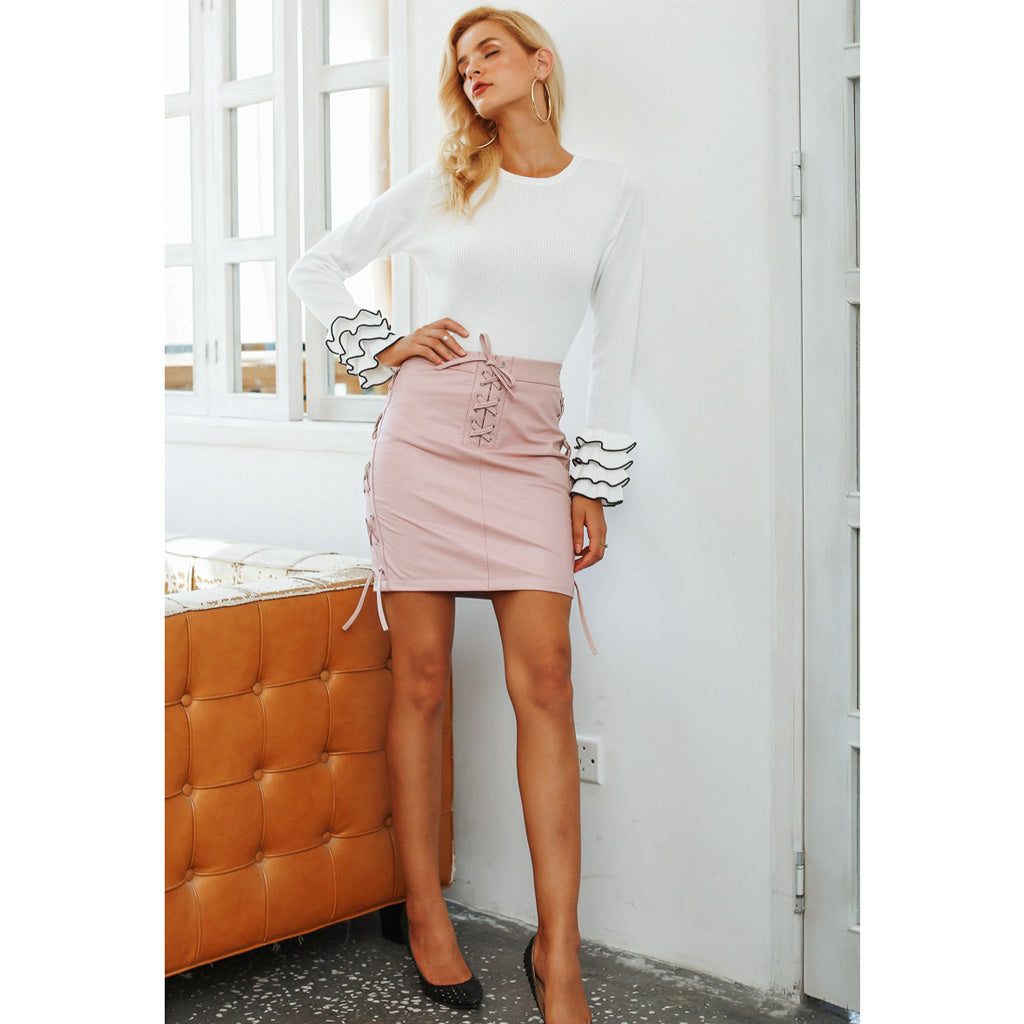 Pink Mini Skirt Outfit Lace Up