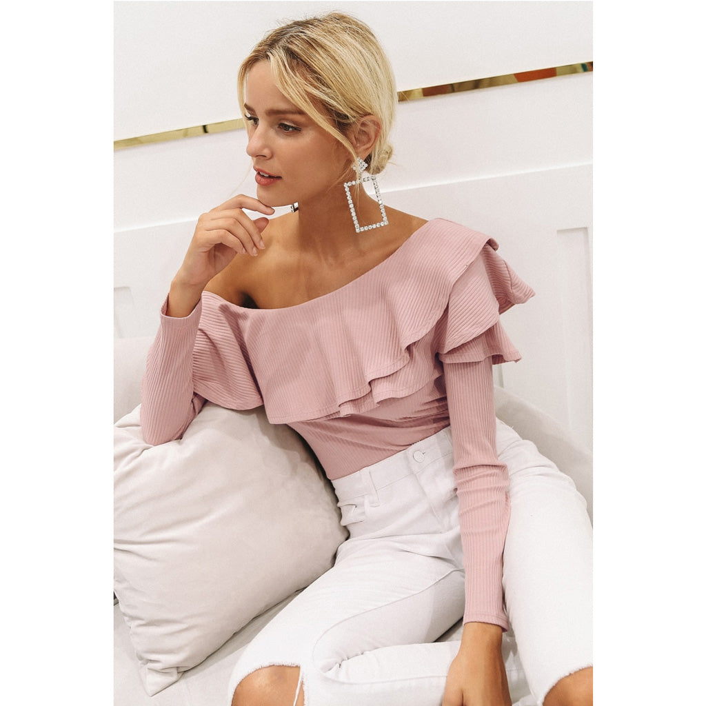 One Shoulder Blouse Pink Street Style