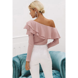 Pink Blouse Ruffle One Shoulder